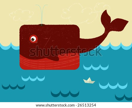 Illustration of whale, vector - stock vector