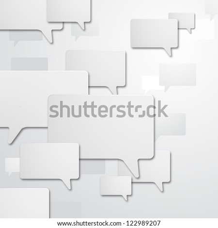 illustration of white chat bubble with shadow effect - stock vector