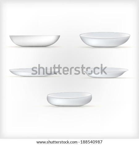 Illustration of white dishes. Set of white dishes of different shapes. Five vector illustrations isolated on white. - stock vector