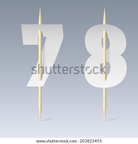 Illustration of white paper cut font on toothpicks on grey background. 7 and 8 numerals - stock vector