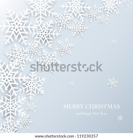 Illustration of white paper snowflakes on a blue background. - stock vector