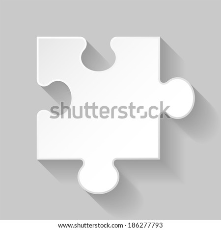 Illustration of white puzzle element with long shadow on grey background - stock vector