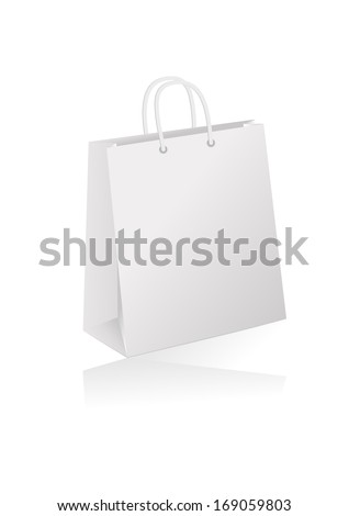 Illustration of white shopping bag isolated - stock vector