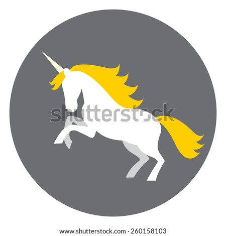 Illustration of white unicorn with yellow mane on grey background. - stock vector