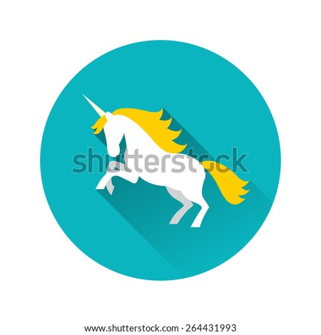 Illustration of white unicorn with yellow mane with long shadow on blue background. - stock vector