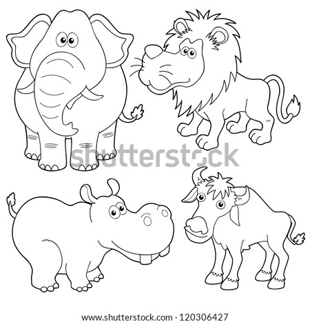 illustration of Wild animals cartoons outline - stock vector