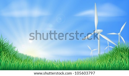 Illustration of wind turbines in green landscape for sustainable renewable energy power generation - stock vector