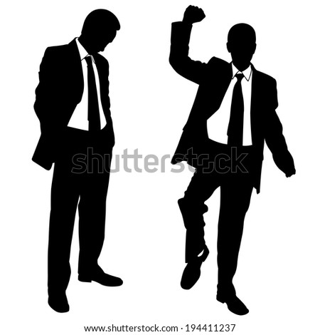 illustration of winner and loser businessmen - stock vector