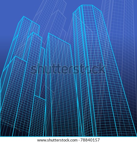 illustration of wire frame view of tall building on abstract background - stock vector