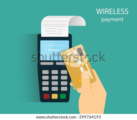 Illustration of wireless mobile payment by credit card. - stock vector