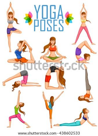 illustration of woman doing Yoga for International Yoga Day  - stock vector