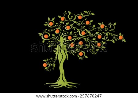 Illustration of woman in woven wood with beautiful branched crown, symbolizing the goddess of fertility and nature. Green crown with orange fruits on a black background. - stock vector