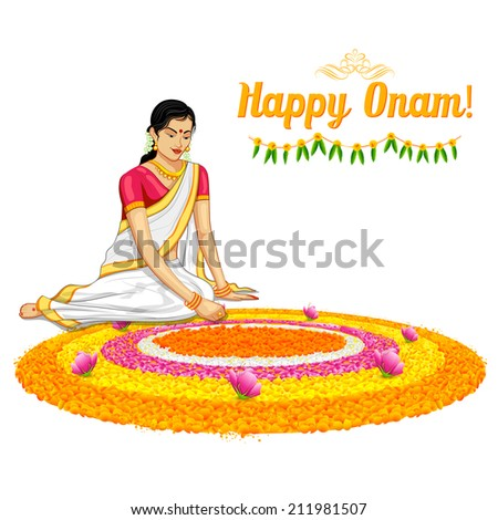 illustration of woman making rangoli for onam - stock vector