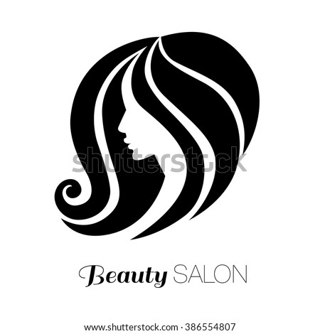 Illustration of woman with beautiful hair - can be used as a logo for beauty salon - stock vector
