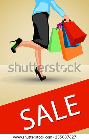 illustration of womans shopping with a lot of bags. - stock vector