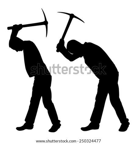 illustration of worker with pick-axe - stock vector