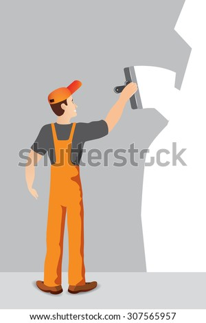 Illustration of worker with spatula and plaster doing renovation - stock vector