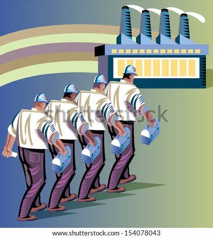 Illustration of workers heading for the factory factory - stock vector