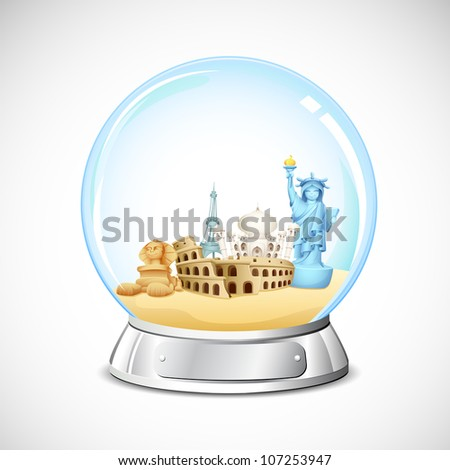 illustration of world famous monument in glass globe - stock vector