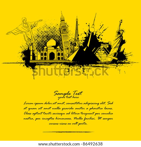 illustration of world famous monument in grungy travel background - stock vector