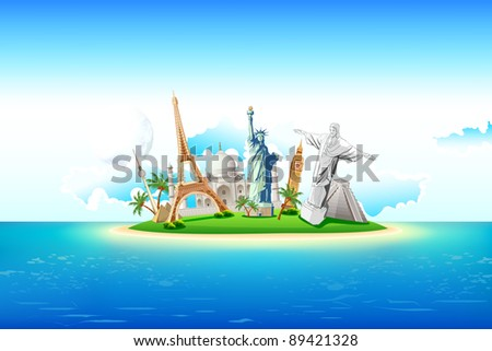 illustration of world famous monument on island in sea - stock vector