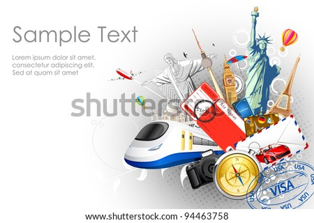 illustration of world famous monuments with travel element in splash of water - stock vector