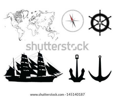 Illustration of world map, compass, anchors, rudders and sailboat-vector - stock vector