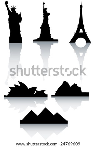 Illustration of world's monuments - stock vector