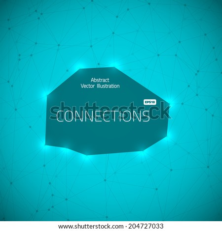 Illustration of Worldwide Network Technology Lines with Dots Connection Vector Background - stock vector