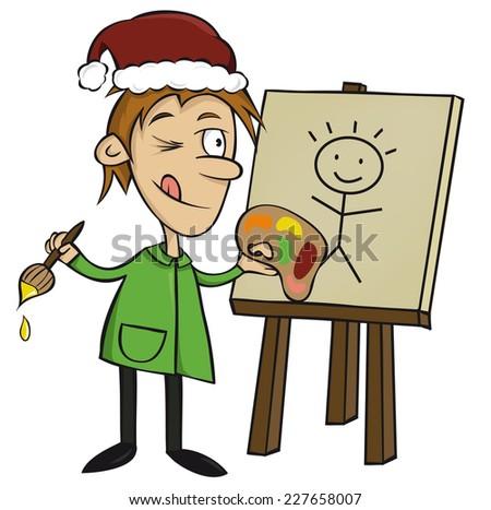 Illustration of Xmas artist painter (vector) - stock vector