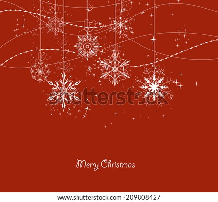illustration of Xmas doodle snowflakes - stock vector