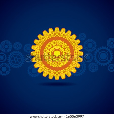 Illustration of yellow gear on blue background - stock vector