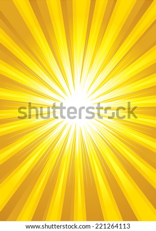 Illustration of yellow light burst as the background - stock vector