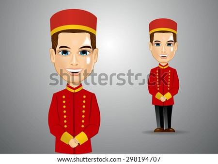 illustration of young bellhop waiting for the clients - stock vector