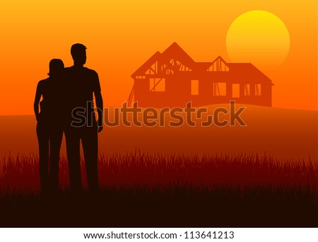 Illustration of young married couples with house construction - stock vector