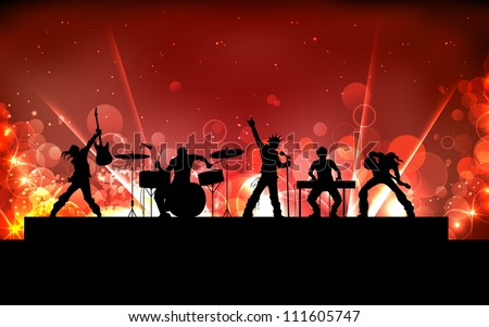 illustration of youth performing in rock band - stock vector