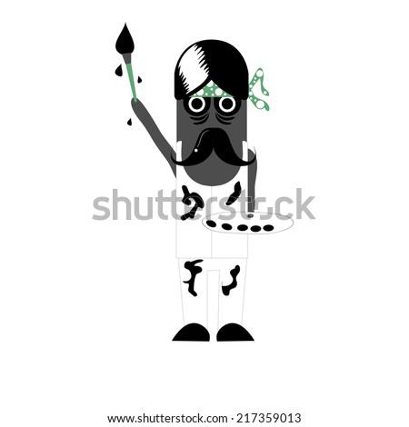 Illustration of zombie artist - stock vector