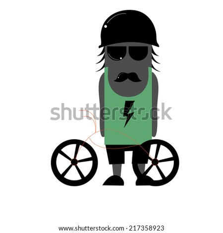 Illustration of zombie cyclists - stock vector