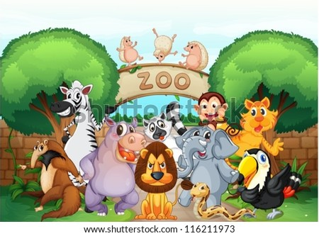 illustration of zoo and animals in a beautiful nature - stock vector