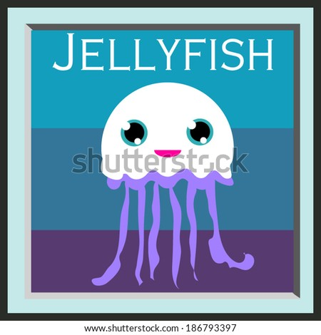 illustration one jellyfish cartoon style graphic vector file - stock vector