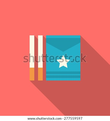 Illustration Package Boxes and Cigarettes with Long Shadows, Minimal Flat Icons - Vector - stock vector