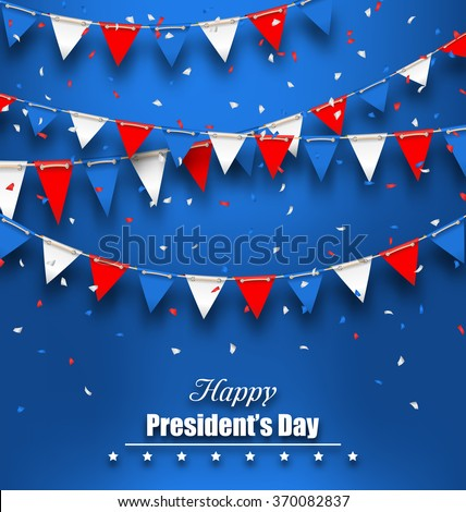 Illustration Patriotic Background with Bunting Flags for Happy Presidents Day, Colors of USA - Vector - stock vector
