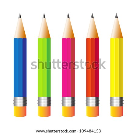 illustration pencils isolated on white background - stock vector