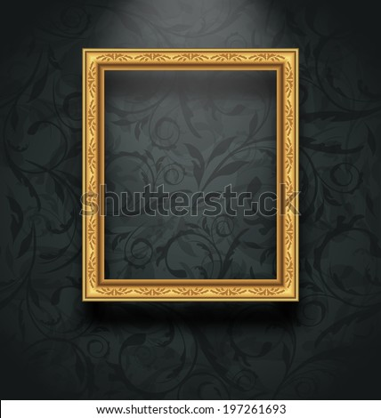 Illustration picture frame on floral texture wall - vector - stock vector