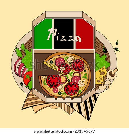 Illustration pizza in a box, one of the Italian cuisine. Fastfood. - stock vector