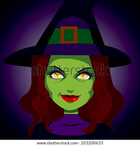 Illustration portrait of scary mysterious looking witch with face lit and magic glowing eyes on dark background - stock vector