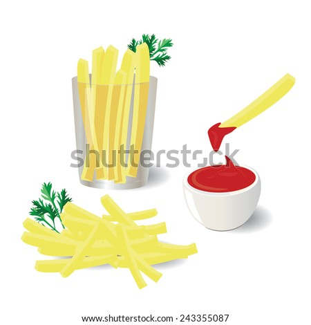 illustration potato fries on white 2 - stock vector