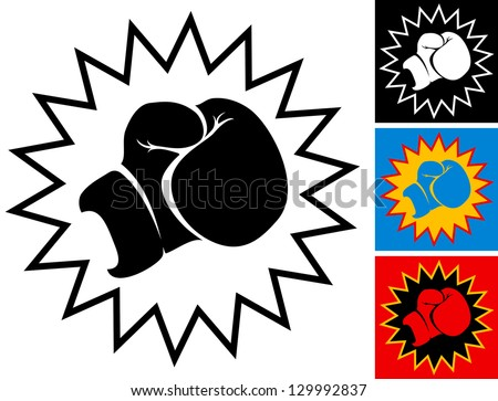 Illustration punch in boxing glove - stock vector