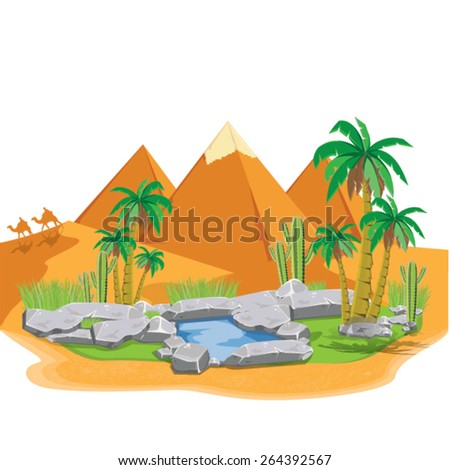 illustration. pyramids Giza. vector - stock vector
