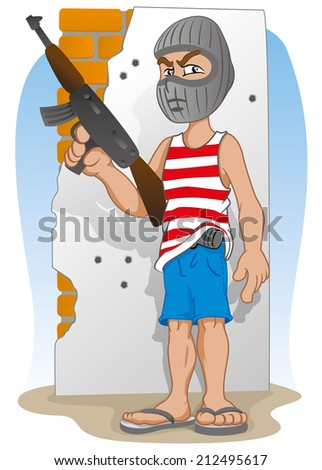 Illustration representing a masked criminal, and armed with a machine gun  - stock vector